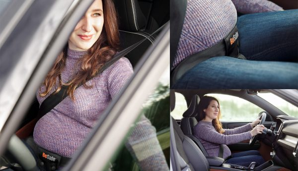 Pregnant mother in the car using BeSafe Pregnancy Belt