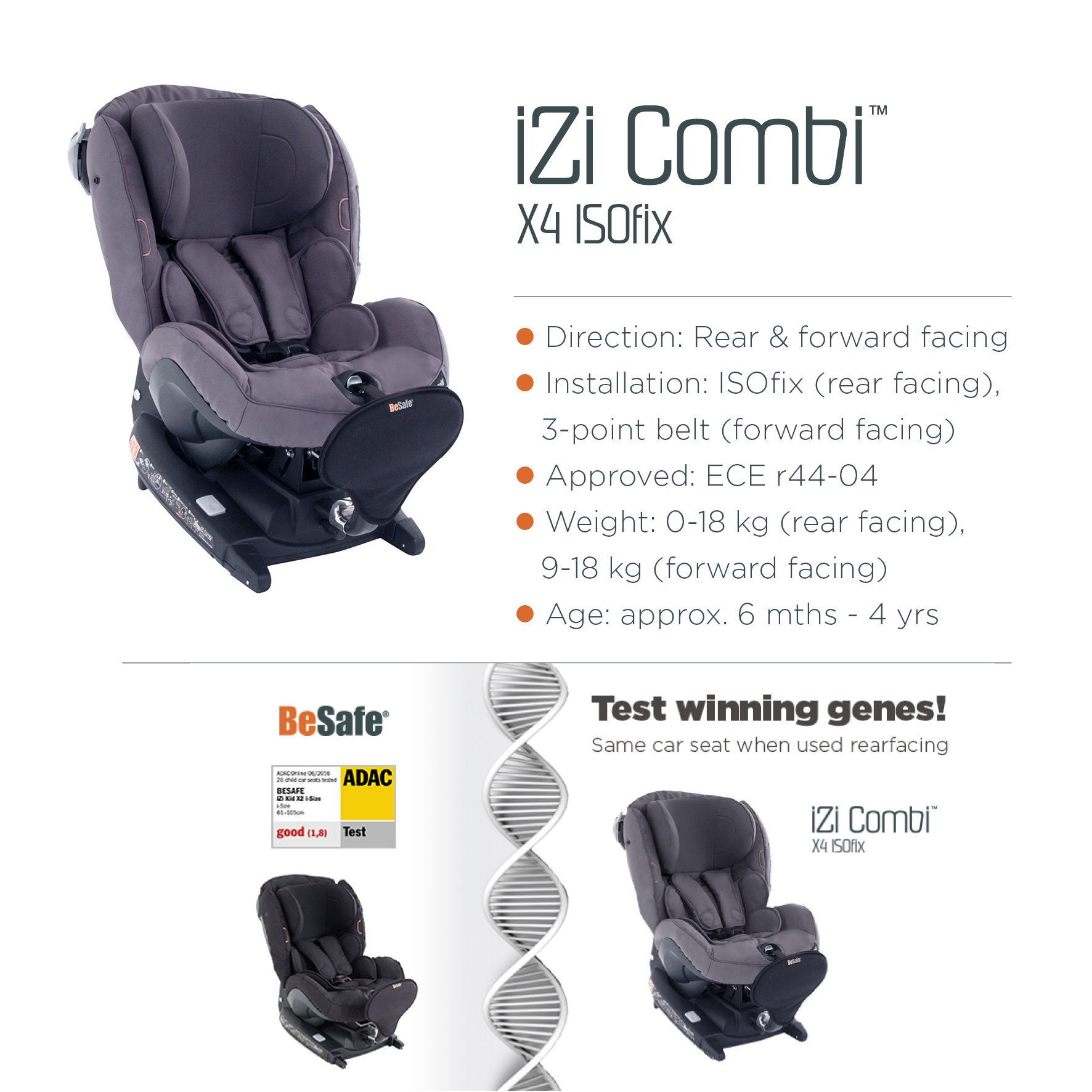 The IZi Combi X4 ISOfix Has Not Been Chosen By ADAC For Testing As Yet But Is Essentially Same Car Seat Kid X2 I Size When Installed Rear